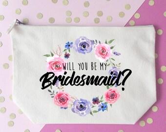 Will you be my bridesmaid makeup bag- Cosmetic bag- Bridesmaid gift- Toiletry bag- Personalised bag- Maid of honour- Bridal party- Hen party