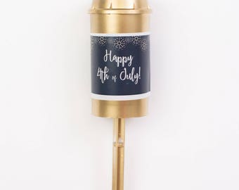 Happy 4th of July Confetti Poppers / Gold Confetti Push Pops / Red, White, Blue and Gold Confetti / Patriotic Party Favors