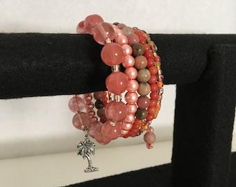 Ocean Sunset Memory Wire Bracelet