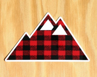 Plaid Mountain Decal -- Skiing Car Decal -- Snowboarding Decal -- Winter Mountain Decal -- Colorado Mountains Car Decal -- Mountain Hiking