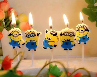 Despicable Me Minions Birthday Candles 5pcs     AA5  AA6