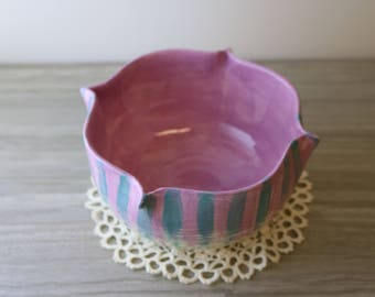 Pinched Fuchsia and Turquoise Bowl (Large)