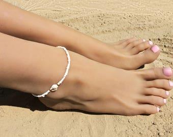 Anklet, Ankle Bracelet, Foot Bracelet, Shell Anklet, White Anklet, Beaded Anklet, Beach Jewelry, Shell Jewelry, Beach Anklet, Boho Anklet