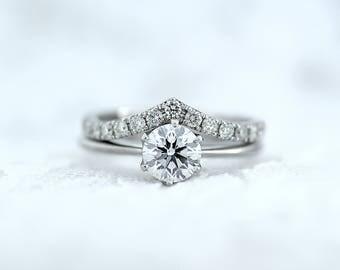 Moissanite Engagement ring-Forever One™ D-E-F Engagement Ring and Diamond Wedding Band-Diamond Chevron Wedding Ring-Wishbone Wedding Ring