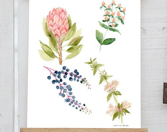 Watercolor Floral Chart 2017