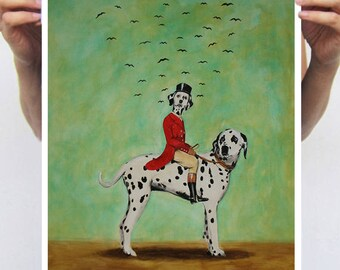 Affortable Dalmatian print from original painting by Coco de Paris: Dalmatian riding a dalmatian