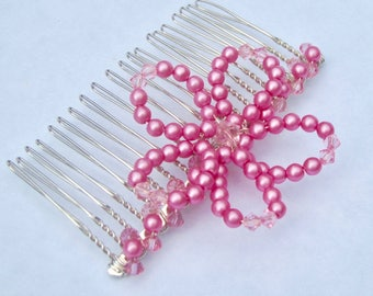 Handmade Pink Pearl Beads & Crystal Flower Hair Comb Hair Slide Bridesmaid, Flower Girl, Party, Princess