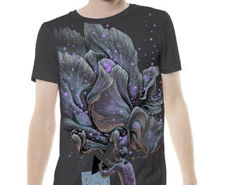 T Shirt psychédélique rêve lucide graphique impression Psy Trance Top gris Festival Tee création vêtements Fantasy conception artistique hommes