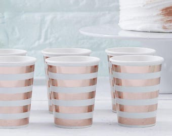 Copper striped cups and Mint