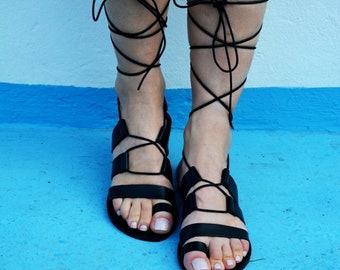 Black Gladiator Sandals, Leather Sandals, Lace up sandals, Tie up Sandals, Black leather sandals , Genuine leather ''Dinami''