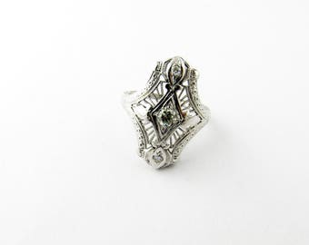 Vintage 18K White Gold Filagree Diamond Ring Size 4.5 #00031