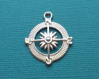 10 Compass Charms Silver - CS2414