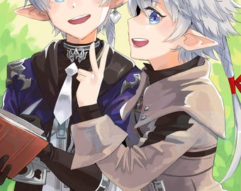 Alphinaud and Alisaie | ffxiv, final fantasy art, final fantasy print, ff14, video game print, anime print, gamer gift, small art print