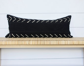 Mudcloth Pillow Cover | Authentic Mud Cloth | Black and White Arrow | 14x36
