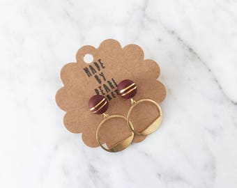 Burgundy Gold Leaf and Large Circular Dangle | Minimalist Polymer Clay Stud Earrings | Hypoallergenic Surgical Steel | Gift for Her, Mum