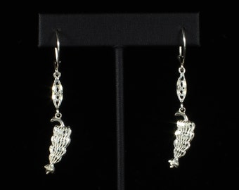 Banana Bunch with Extender Bar Hanging Earrings in .925 Sterling Silver