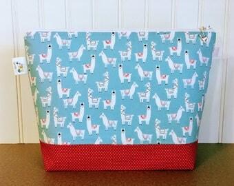 Knitting Project Bag, Llama Knitting Bag, Project Bag, Knitting Tote, Knitting Caddy, Yarn Bowl, Yarn Tote Bag, Crochet Project Bag