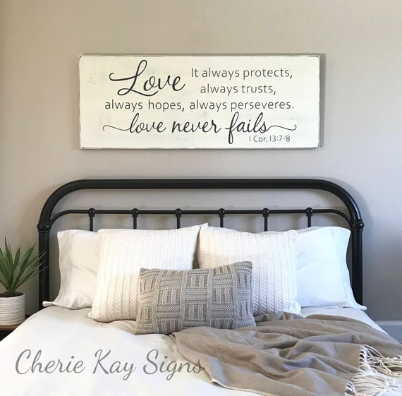 master bedroom wall decor love never fails 1 corinthians 20084 | il 570xn 1333892764 50d8