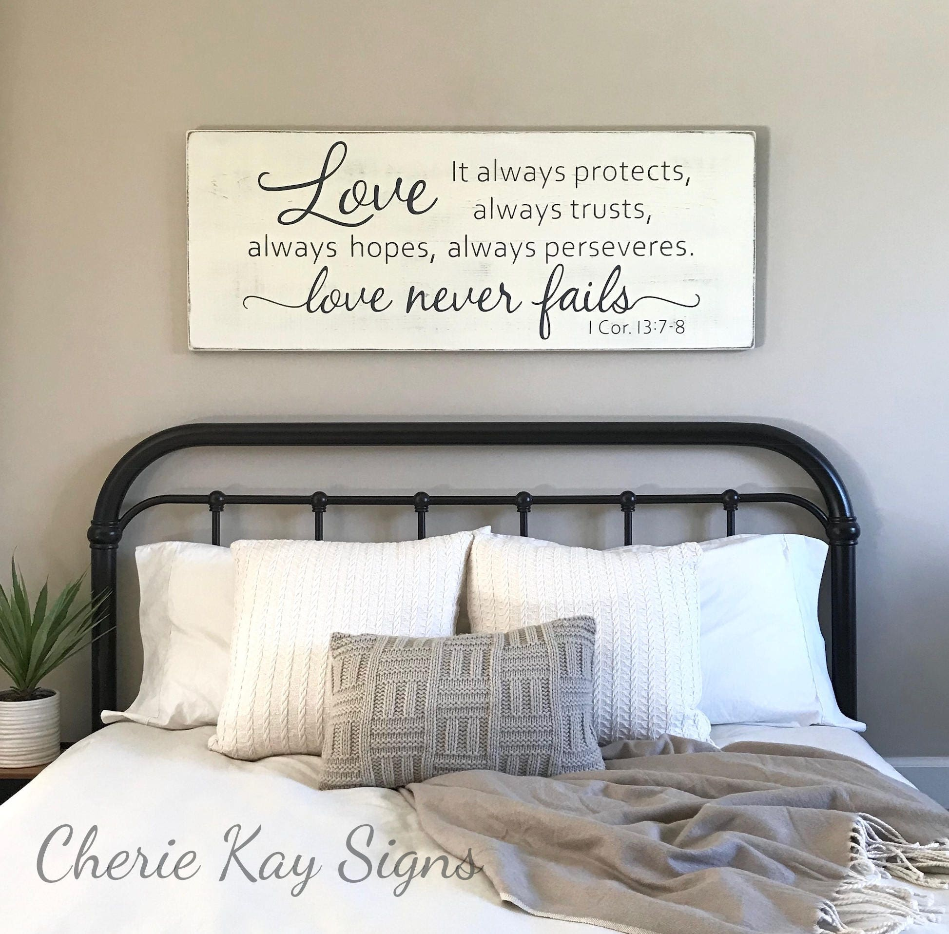 Master bedroom wall decor love never fails 1 corinthians Master bedroom wall art ideas