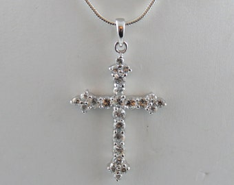 """Sterling Silver Cubic Zirconia Cross With A 20"""" Light Snake Chain"""