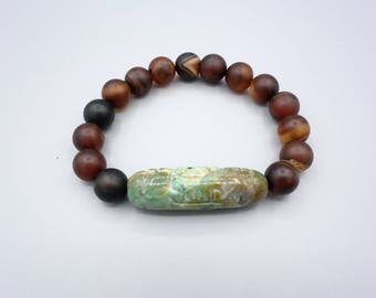 Carved african Jade brown Agate Gemstone beaded Stretch Stack Bracelet Wrist Band Stack Jewelry Accessories