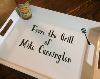 Father's Day Gift, BBQ gift, barbecue dad gift, serving tray, grilling tray, grandfather gift, king of the grill