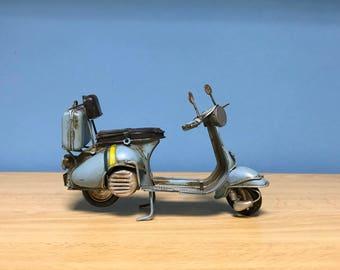 Vintage turquoise scooter vespa,Miniature Vespa,Decorative collectible scooter,Metal vespa,Retro collection,Doll vespa