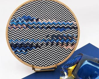 Embroidered drum, blue decorative embroidery, modern graphic tapestry, decorative object, graphic embroidery, handmade embroidery, nayquach