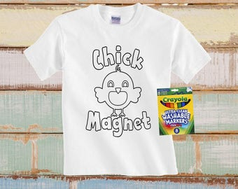 Kids Easter Shirt, Kids Toddler Easter Shirt, Chick Magnet Shirt, Boys Easter Shirt, Easter Coloring Shirt, Funny Easter Shirt