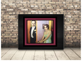 Romantic Couple In Love. Burlesque Silent B Movie Erotic Clip Art. High Resolution Digital Download of Vintage Image Inchies and Dominoes.