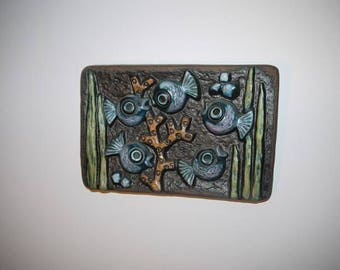 Ceramic Wall Plate - Norrmans Motala - Sweden - Scandinavian Design - Fishes - 3D-effect - Retro -