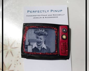 Retro Inspired TV set I Love Lucy Vitameatavegamin Pinup Pin Brooch Rockabilly