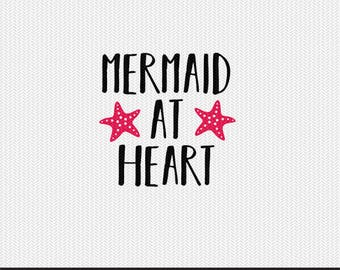 mermaid at heart svg dxf file instant download silhouette cameo cricut clip art commercial use