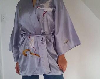 Cranes Hand Embroidered Kimono Baby Blue