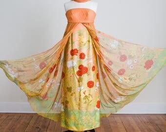 Orange tropical floral silk chiffon designer Hanae Mori full length strapless gown with shawl