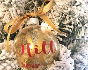Personalized Ornament - Custom Christmas Ornament - Last name wedding Ornament