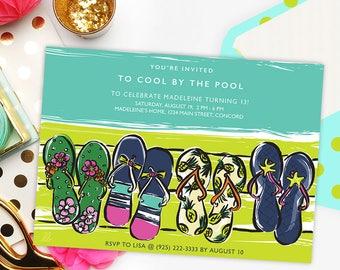 DIY printable invitation template   Summer flip flops in green, pink and aqua   editable PDF