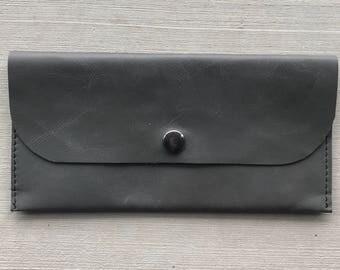 Leather wallet, gray leather wallet, womens wallet, wallet, long wallet