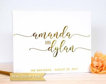 Wedding Guest Book Landscape Wedding Guest Book with Gold Foil - Custom Wedding  Guest Book white