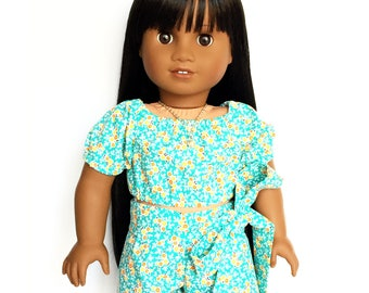 Crop Peasant Top, Short Sleeve, Floral, Turquoise, Orange, White, American, 18 inch Doll Clothes, Flowers