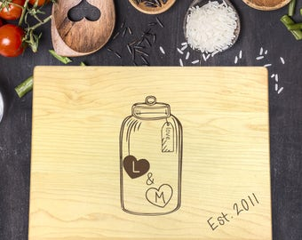 Custom Cutting Board, Custom Cutting Board Wedding, Custom Cutting Board Wood, Wedding Gift, Housewarming Gift, Mason Jar, Initials, B-0120