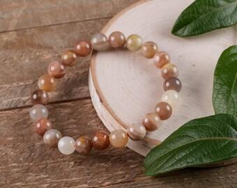 Multi Colored MOONSTONE Power Bracelet - Moonstone Jewelry, Natural Moonstone, Moonstone Bracelet, Moonstone Bead Bracelet E0587