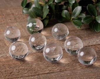 Two Extra Small CLEAR QUARTZ Crystal Spheres - Clear Quartz Crystal Ball, Clear Quartz Sphere, Polished Quartz, Healing Crystals E0617