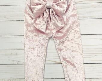 Light Pink Velvet Bow Leggings