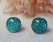 Turquoise glass studs fused dichroic blue green glass birthday anniversary Christmas Mothers Day gift for her wife girlfriend Mum sister