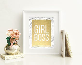 Girl Boss Marble Abstract Gold Foil Print FREE US SHIPPING