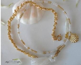 Layered Bracelets, Gold and White, Gold Bracelet Set, Boho Layered Bracelets, Exotic Style Bracelets, Beaded bracelet