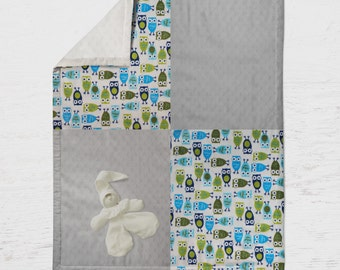 Minky owls with cuddle dots infant boy blanket