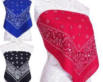 Bandana Crop Top Shirt - Red Blue White Black & More - Casual Style Shirt - Womens Clothing - One Size - New
