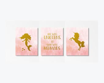 Set of 3 Posters, Unicorn Nursery, Mermaid Nursery, Swim With Mermaids, Blush Pink And Gold, Pink And Gold Nursery, Ride With Unicorns